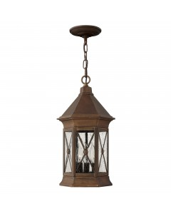 Hinkley Brighton 3 Light Outdoor Chain Lantern In Sienna Finish