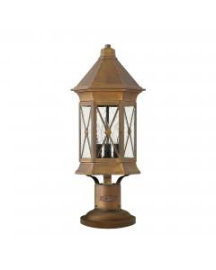 Hinkley Brighton 3 Light Outdoor Pedestal Lantern In Sienna Finish