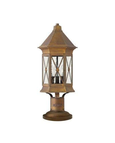 Hinkley Brighton 3 Light Outdoor Pedestal Lantern In Sienna Finish