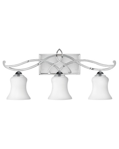 Hinkley Brooke 3 Light Above Mirror Bathroom Wall Light In Polished Chrome Finish With Opal Glass Shades (IP44)