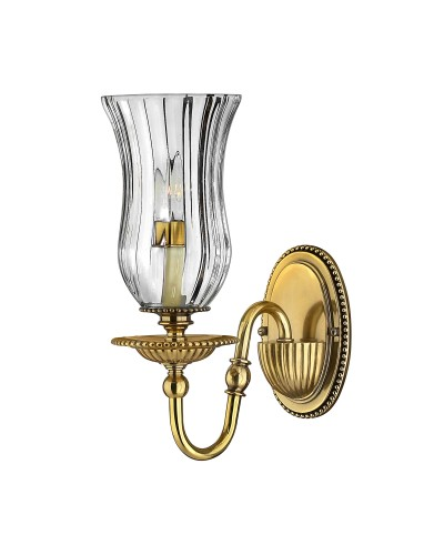 Hinkley Cambridge 1 Light Solid Brass Wall Light In Burnished Brass Finish With Clear Optic Glass Shade
