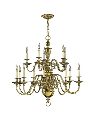 Hinkley Cambridge 15 Light Solid Brass Chandelier In Burnished Brass Finish