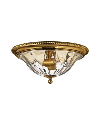 Hinkley Cambridge 2 Light Solid Brass Flush Mounted Ceiling Light In Burnished Brass Finish With Clear Optic Glass