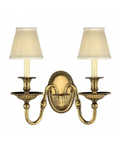 Hinkley Cambridge 2 Light Solid Brass Wall Light In Burnished Brass Finish With Pleated Ivory Candle Shades