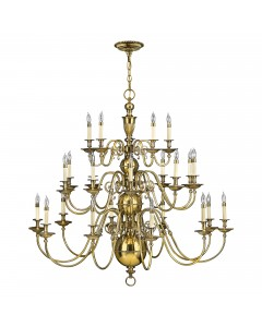 Hinkley Cambridge 25 Light Solid Brass Chandelier In Burnished Brass Finish