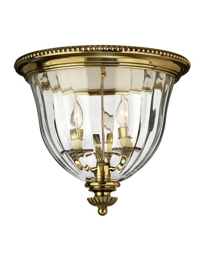 Hinkley Cambridge 3 Light Solid Brass Flush Mounted Ceiling Light In Burnished Brass Finish With Clear Optic Glass