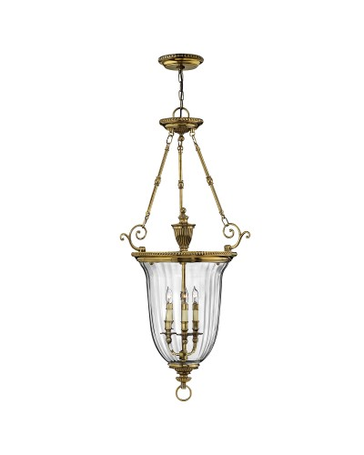 Hinkley Cambridge 3 Light Solid Brass Large Pendant In Burnished Brass Finish With Clear Optic Glass