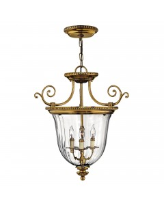 Hinkley Cambridge 3 Light Solid Brass Small Pendant In Burnished Brass Finish With Clear Optic Glass