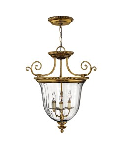 Elstead Lighting Hinkley Cambridge 3 Light Solid Brass Small Pendant In Burnished Brass Finish With Clear Optic Glass
