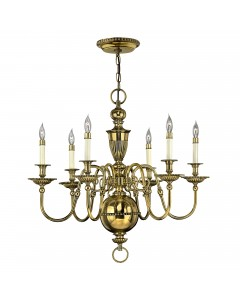 Hinkley Cambridge 6 Light Solid Brass Chandelier In Burnished Brass Finish