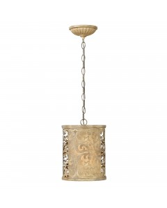 Hinkley Carabel 1 Light Mini Pendant In Brushed Champagne Finish With Ivory Linen Shade