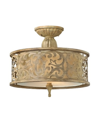 Hinkley Carabel 2 Light Small Semi Flush Ceiling Light In Brushed Champagne Finish With Ivory Linen Shade