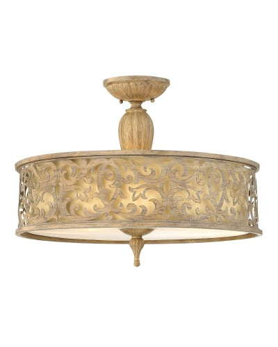 Hinkley Carabel 3 Light Large Semi Flush Ceiling Light In Brushed Champagne Finish With Ivory Linen Shade