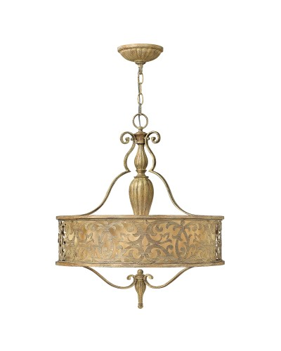 Hinkley Carabel 3 Light Pendant In Brushed Champagne Finish With Ivory Linen Shade