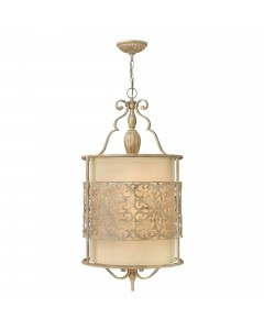 Hinkley Carabel 4 Light Large Pendant In Brushed Champagne Finish With Ivory Linen Shade