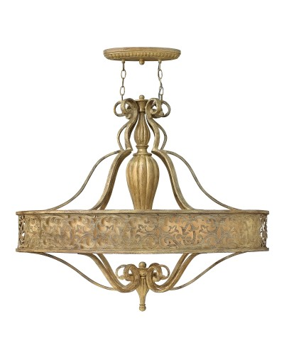 Hinkley Carabel 6 Light Oval Pendant Chandelier In Brushed Champagne Finish With Ivory Linen Shade