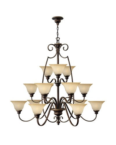 Hinkley Cello 15 Light Chandelier In Antique Bronze Finish With Faux Alabaster Glass Shades