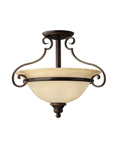 Hinkley Cello 2 Light Semi-Flush Ceiling Light In Antique Bronze Finish With Faux Alabaster Glass Shade