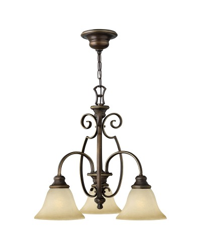 Hinkley Cello 3 Light Downlight Chandelier In Antique Bronze Finish With Faux Alabaster Glass Shades