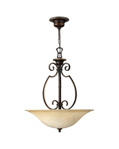 Hinkley Cello 3 Light Pendant In Antique Bronze Finish With Faux Alabaster Glass Shade
