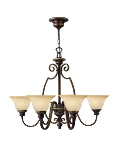 Hinkley Cello 6 Light Chandelier In Antique Bronze Finish With Faux Alabaster Glass Shades