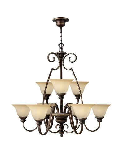 Hinkley Cello 9 Light Chandelier In Antique Bronze Finish With Faux Alabaster Glass Shades