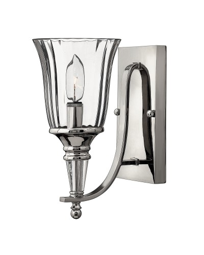 Hinkley Chandon 1 Light Wall Light In A Polished Sterling Finish And Solid Crystal Finial