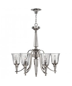 Elstead Lighting Hinkley Chandon 6 Light Chandelier In A Polished Sterling Finish And Solid Crystal Centre Column