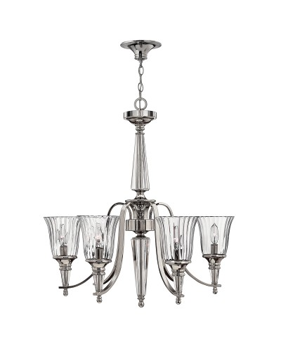Hinkley Chandon 6 Light Chandelier In A Polished Sterling Finish And Solid Crystal Centre Column
