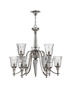 Hinkley Chandon 9 Light Chandelier In A Polished Sterling Finish And Solid Crystal Centre Column