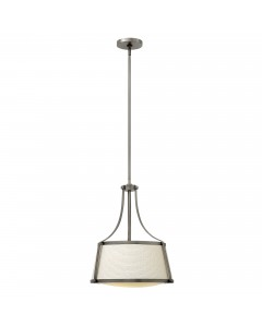 Hinkley Charlotte 3 Light Pendant In Antique Nickel Finish With Height Adjustable Rods