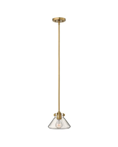 Hinkley Congress 1 Light Pendant In Brushed Caramel Finish With Clear Glass Pyramid Shade and Height Adjustable Rods