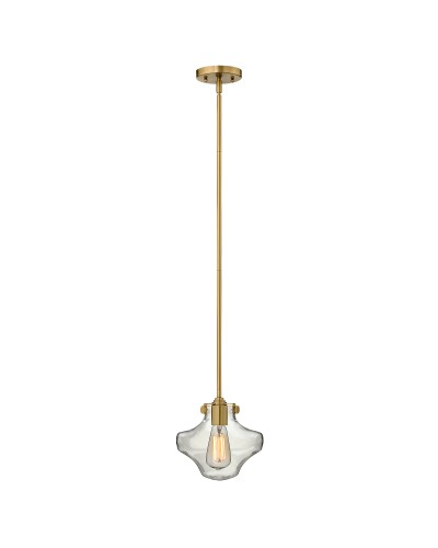 Hinkley Congress 1 Light Pendant In Brushed Caramel Finish With Clear Glass Shade and Height Adjustable Rods
