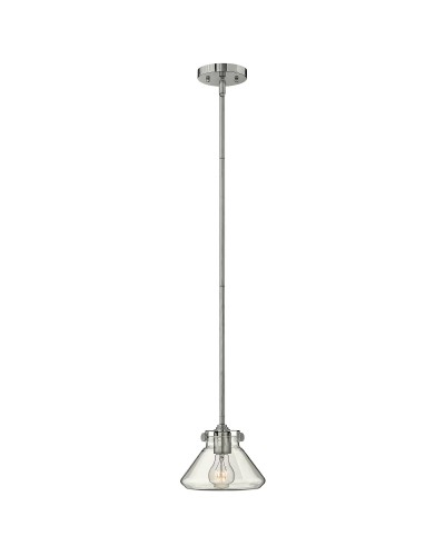 Hinkley Congress 1 Light Pendant In Chrome Finish With Clear Glass Pyramid Shade and Height Adjustable Rods