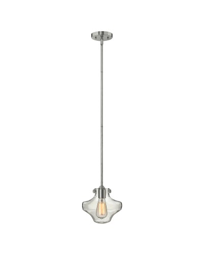Hinkley Congress 1 Light Pendant In Chrome Finish With Clear Glass Shade and Height Adjustable Rods