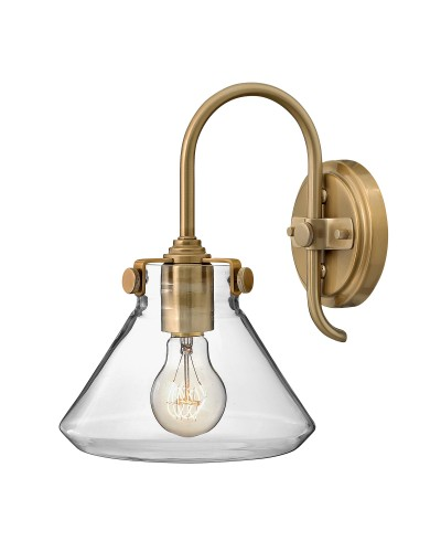 Hinkley Congress 1 Light Wall Light In Brushed Caramel Finish With Clear Glass Pyramid Shade