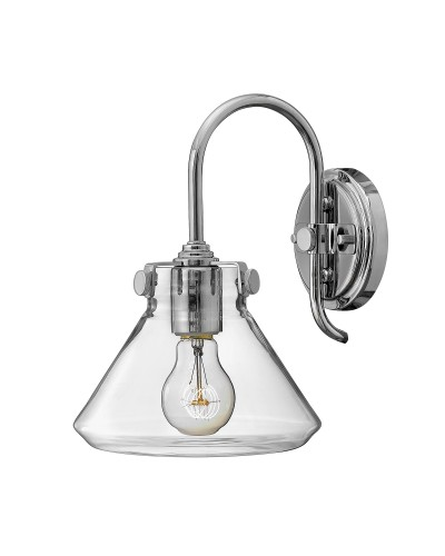Hinkley Congress 1 Light Wall Light In Chrome Finish With Clear Glass Pyramid Shade