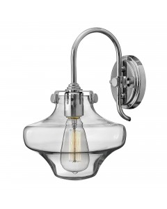 Hinkley Congress 1 Light Wall Light In Chrome Finish With Clear Glass Shade