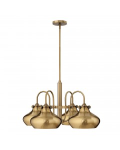 Hinkley Congress 4 Light Chandelier In Brushed Caramel Finish With Brushed Caramel Metal Shades and Height Adjustable Rods