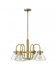 Hinkley Congress 4 Light Chandelier In Brushed Caramel Finish With Clear Glass Pyramid Shades and Height Adjustable Rods