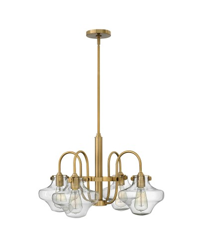 Hinkley Congress 4 Light Chandelier In Brushed Caramel Finish With Clear Glass Shades and Height Adjustable Rods