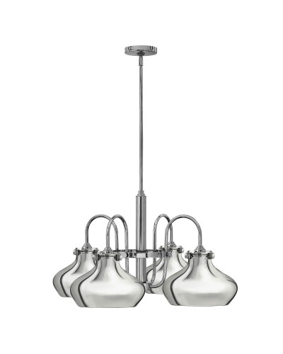 Hinkley Congress 4 Light Chandelier In Chrome Finish With Chrome Metal Shades and Height Adjustable Rods