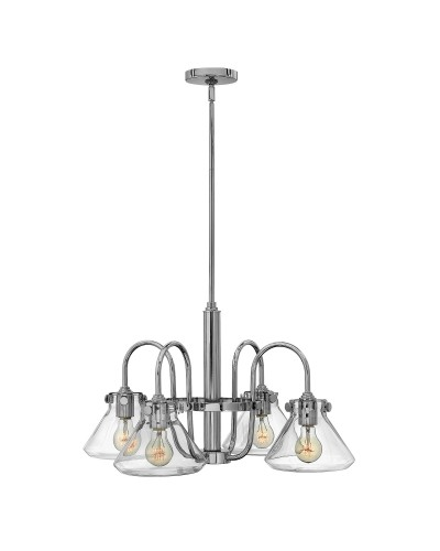 Hinkley Congress 4 Light Chandelier In Chrome Finish With Clear Glass Pyramid Shades and Height Adjustable Rods
