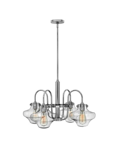 Hinkley Congress 4 Light Chandelier In Chrome Finish With Clear Glass Shades and Height Adjustable Rods