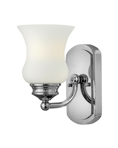 Hinkley Constance 1 Light Bathroom Wall Light In Polished Chrome Finish With Opal Glass Shade (IP44)