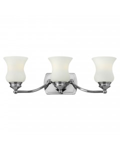 Hinkley Constance 3 Light Above Mirror Bathroom Wall Light In Polished Chrome Finish With Opal Glass Shades (IP44)