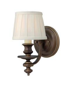 Elstead Lighting Hinkley Dunhill 1 Light Wall Light In Royal Bronze Finish With Off-White Pleated Fabric Shade