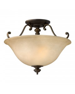 Elstead Lighting Hinkley Dunhill 2 Light Semi-Flush Ceiling Light In Royal Bronze Finish With Faux Alabaster Glass Shade