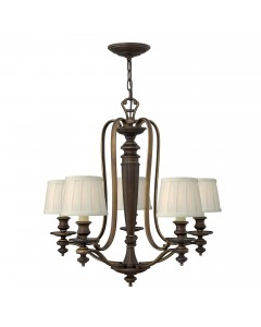 Elstead Lighting Hinkley Dunhill 5 Light Chandelier In Royal Bronze Finish With Off-White Pleated Fabric Shades