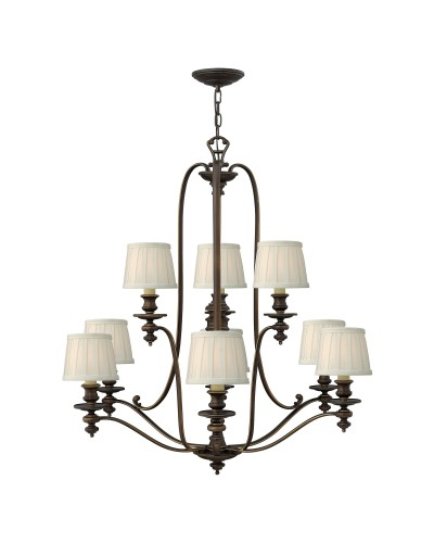 Elstead Lighting Hinkley Dunhill 9 Light Chandelier In Royal Bronze Finish With Off-White Pleated Fabric Shades
